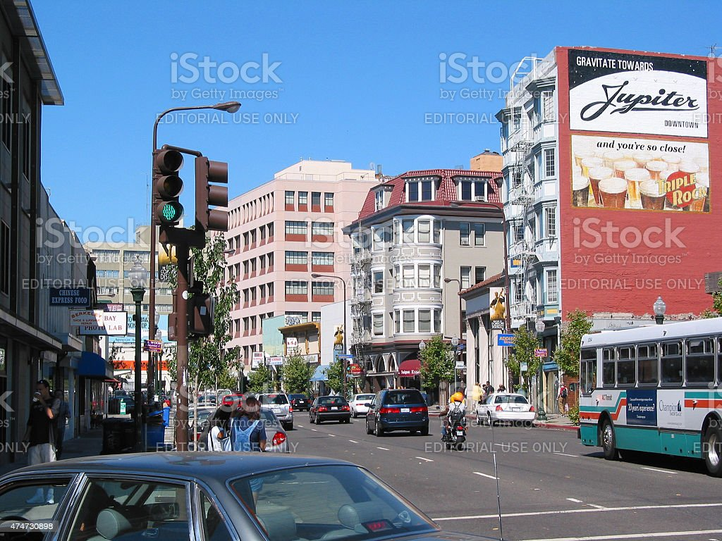 Downtown Berkeley street scene stock photo