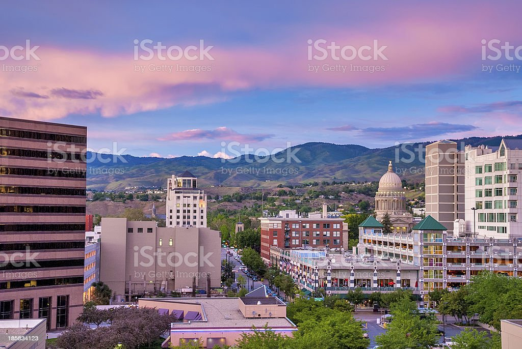 Downtown Boise Idaho just after sundown with Capital building stock photo