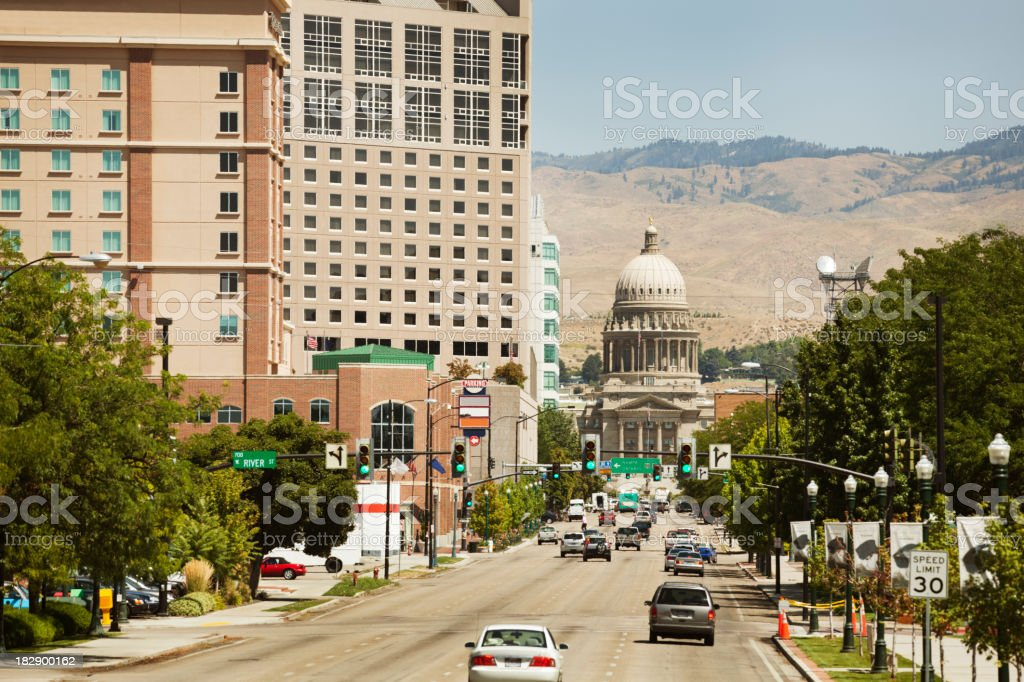 Downtown Boise with State Capitol Hz stock photo