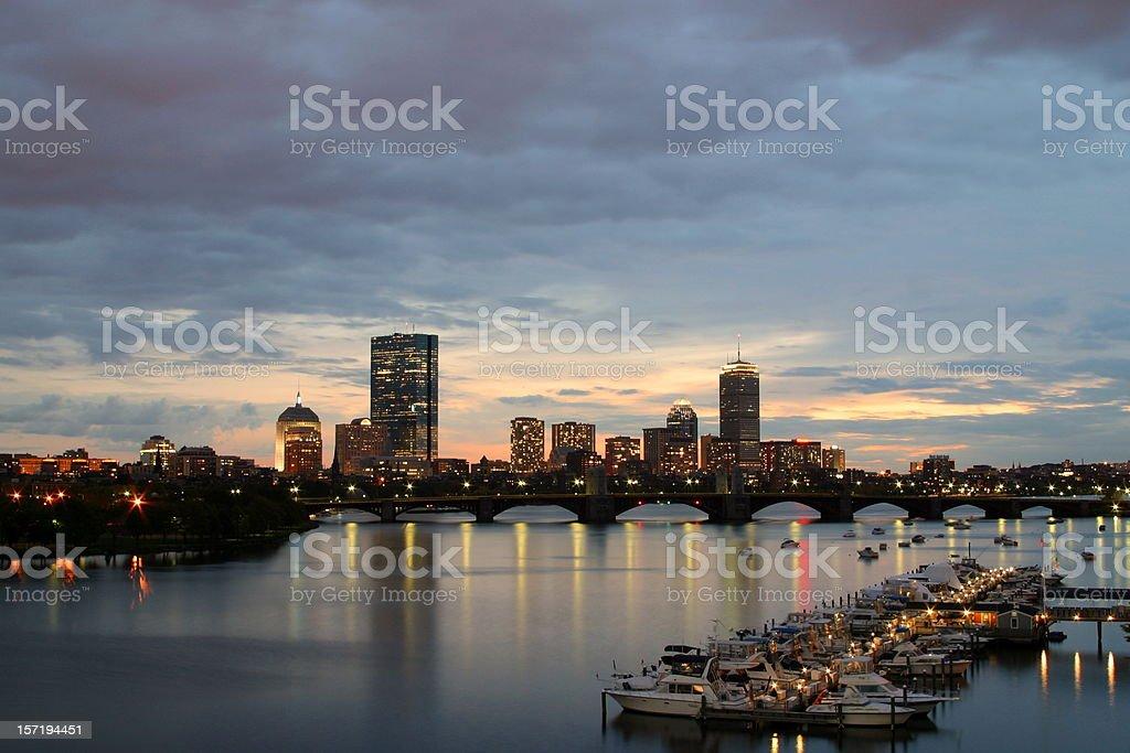 downtown Boston at sunset royalty-free stock photo