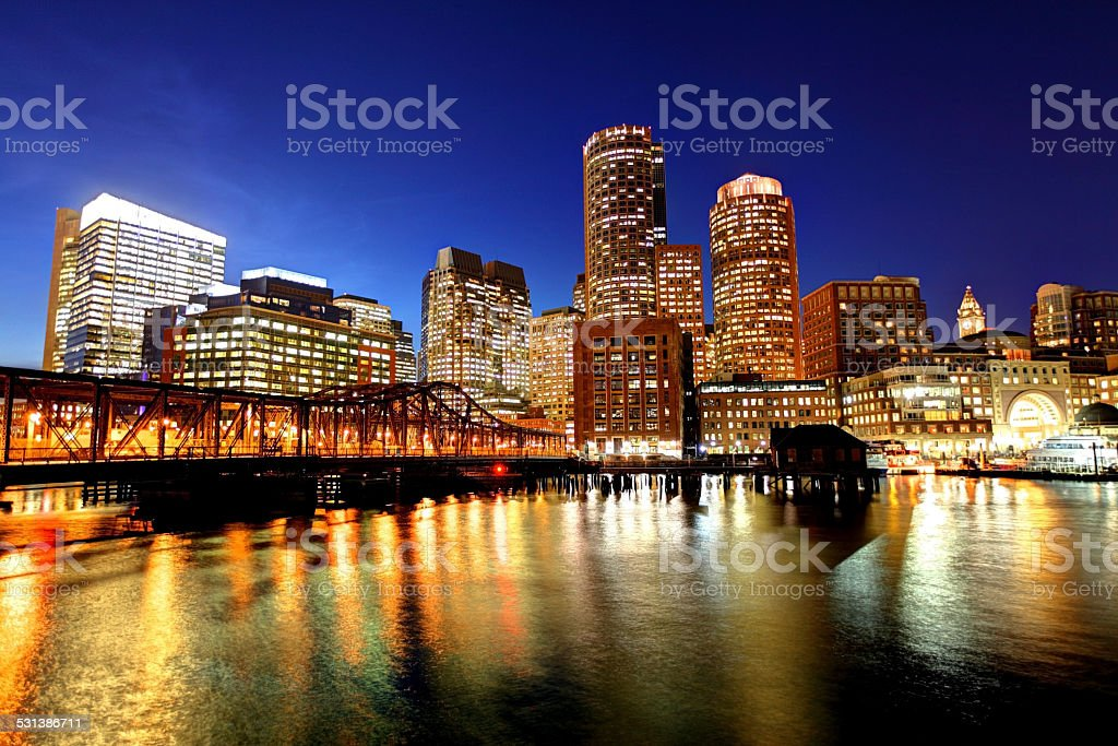Downtown Boston Skyline along the Harborwalk stock photo