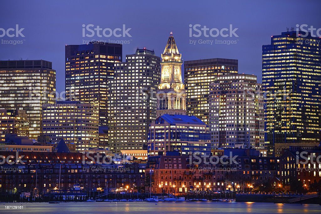 Downtown Boston skyline and the Custom House Tower stock photo