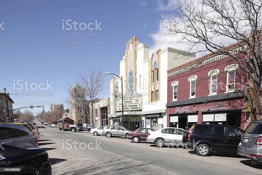 downtown Boulder, Colorado 14th street view looking north. stock photo