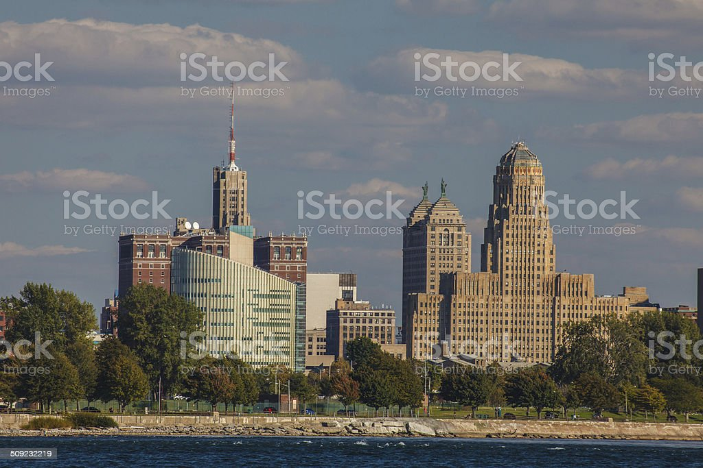 Downtown Buffalo City Hall Sunny Day stock photo