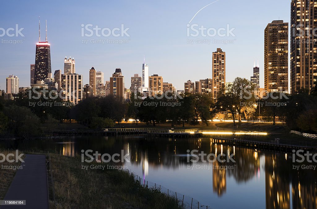 Downtown buildings seen from Lincoln Park stock photo
