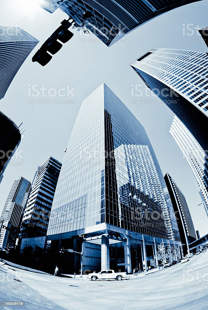 Downtown Business Skyscraper Blue Toned stock photo