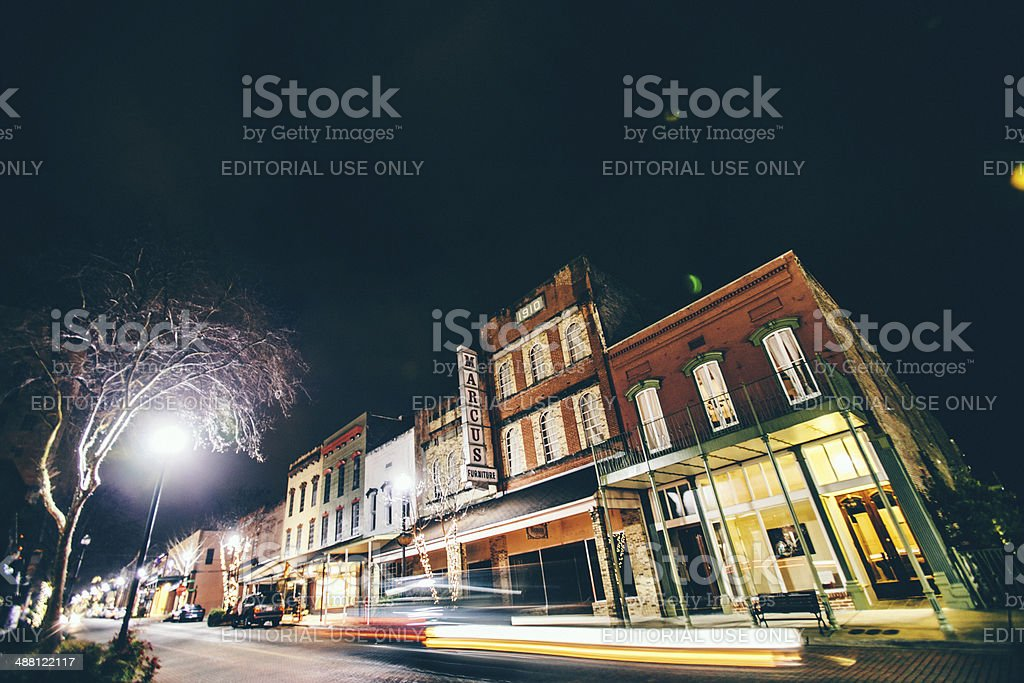 Downtown by night. stock photo