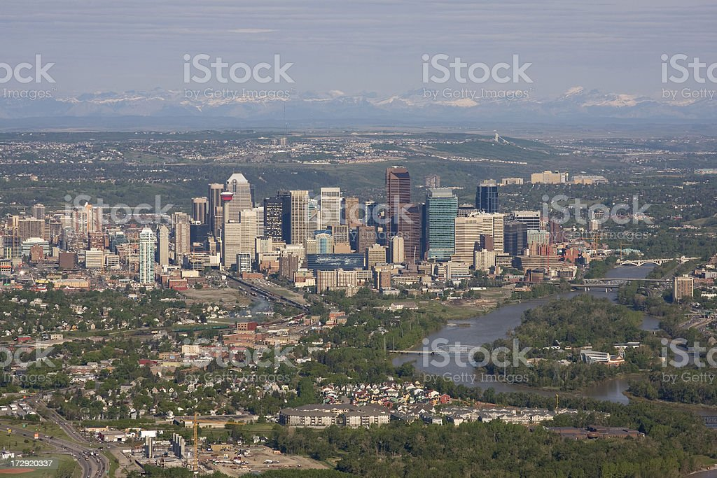 Downtown Calgary Aerial View royalty-free stock photo