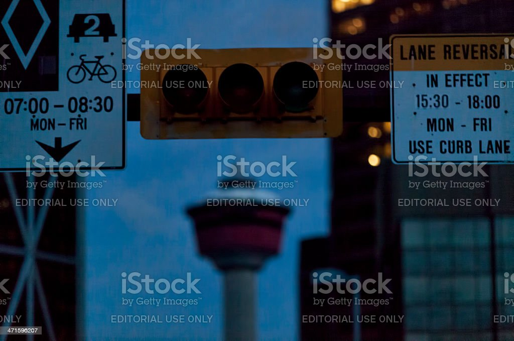Downtown Calgary during power outage due to flooding royalty-free stock photo