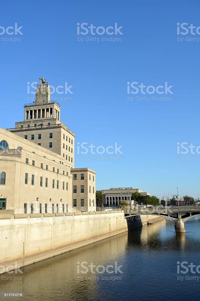Downtown Cedar Rapids Iowa stock photo