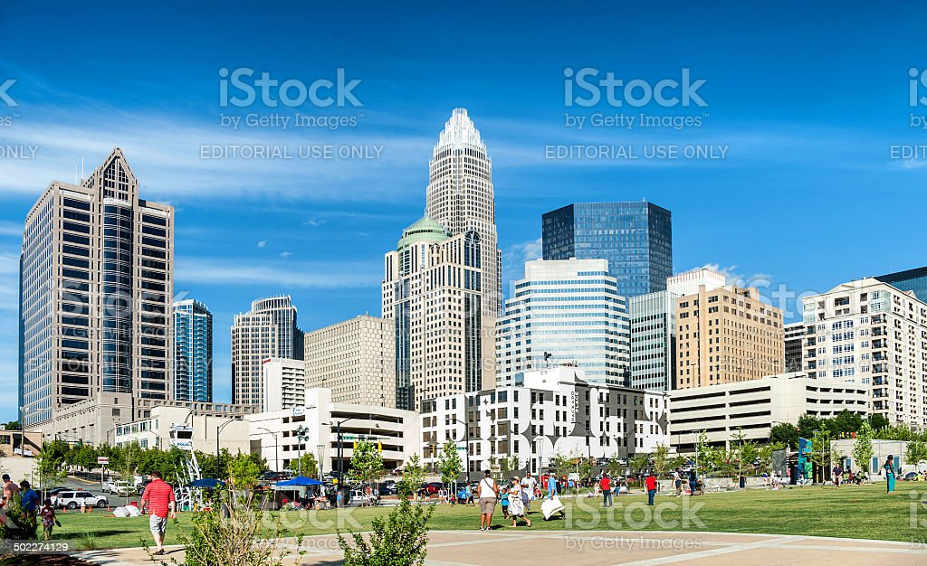 Downtown Charlotte, North Carolina skyscrapers from the park stock photo