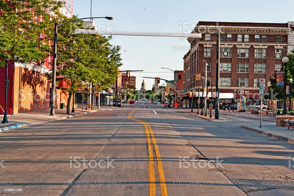 Downtown Cheyenne Capitol Ave VIews stock photo