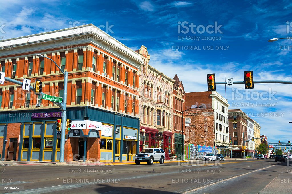 Downtown Cheyenne Street Scene stock photo