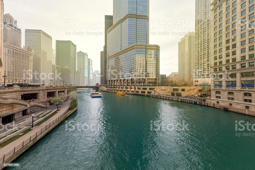 Downtown Chicago and Chicago River stock photo