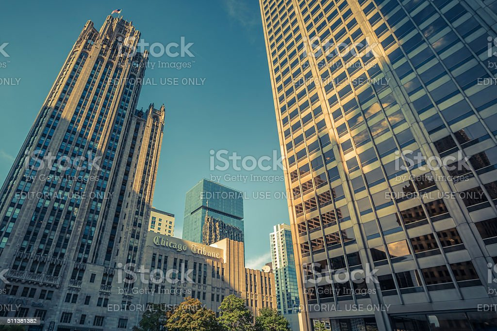 Downtown Chicago and Chicago Tribune building and sign stock photo