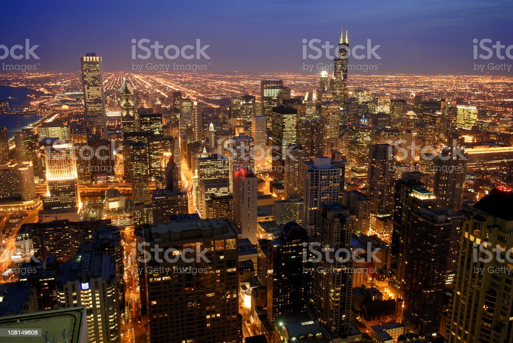 Downtown Chicago at Dusk royalty-free stock photo