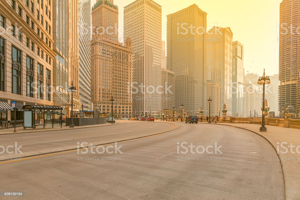 Downtown Chicago at Sunset stock photo