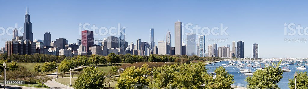 Downtown Chicago City Skyline in Illinois USA stock photo
