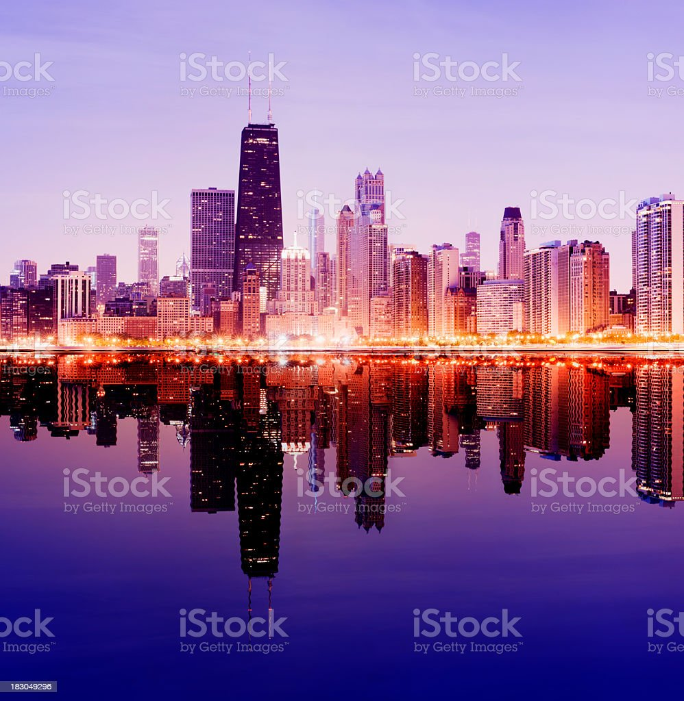 Downtown Chicago City Skyline in Illinois USA royalty-free stock photo