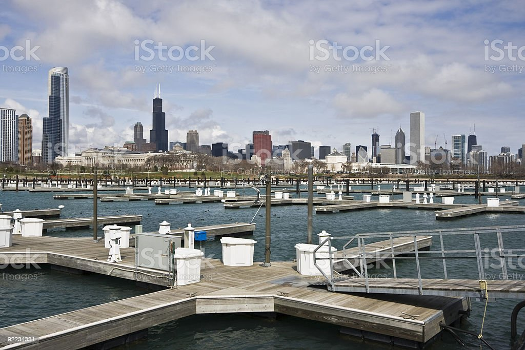 Downtown Chicago from empty marina stock photo