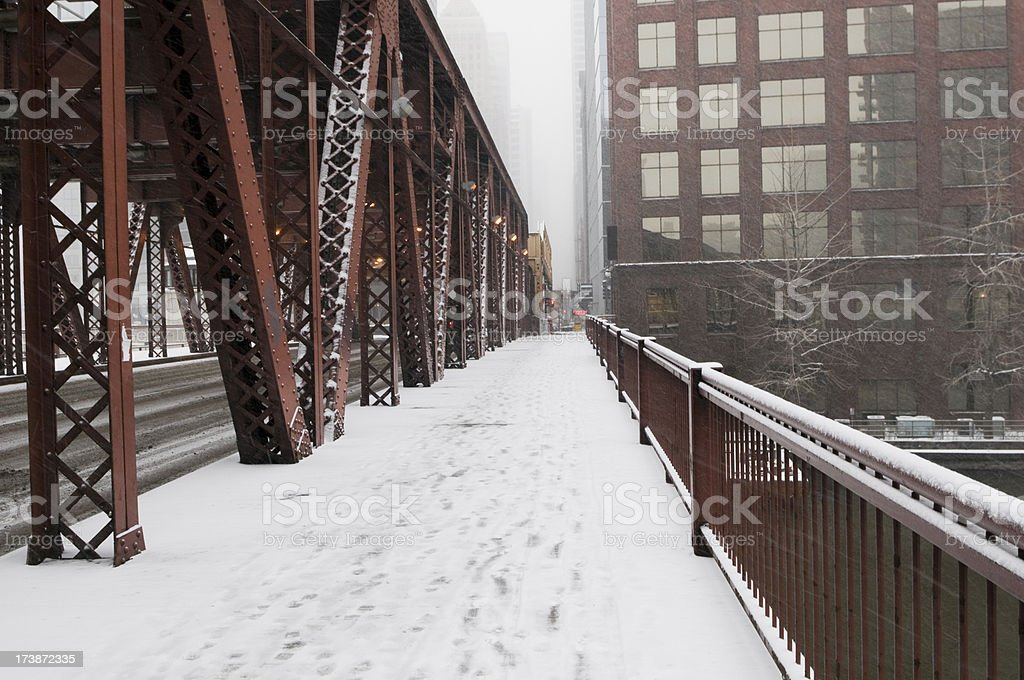 Downtown Chicago on a Snowy Day royalty-free stock photo