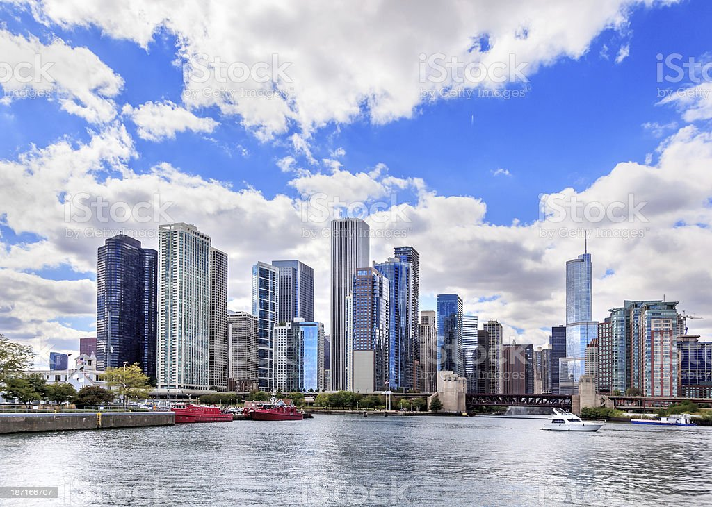 Downtown Chicago on the river front stock photo