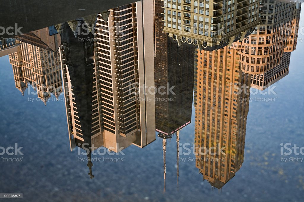 Downtown Chicago reflected royalty-free stock photo