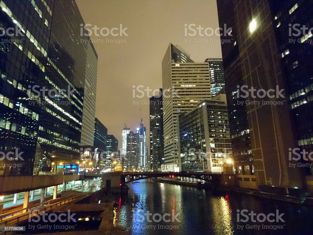 Downtown Chicago River at night, Illinois stock photo