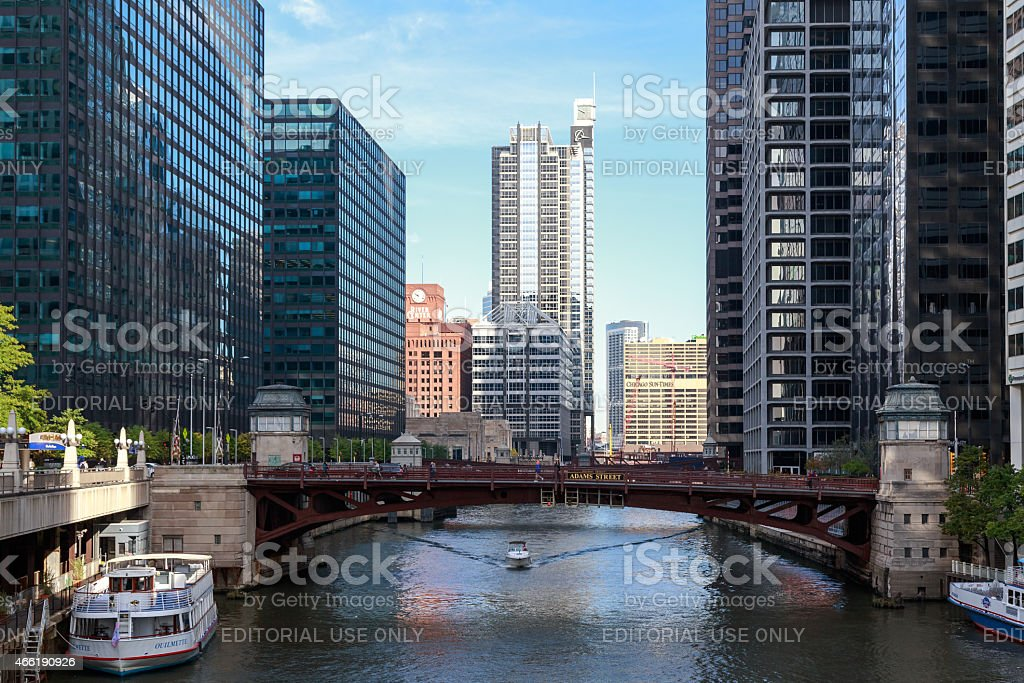 Downtown Chicago River stock photo