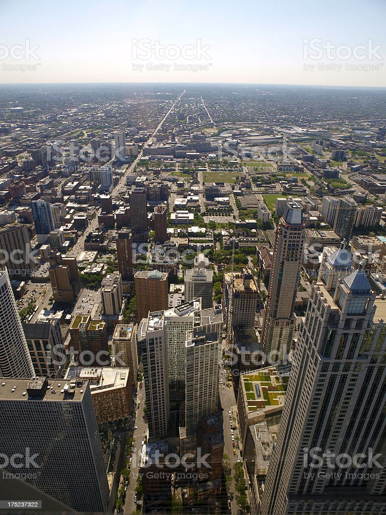 Downtown Chicago Skyline Aerial View royalty-free stock photo