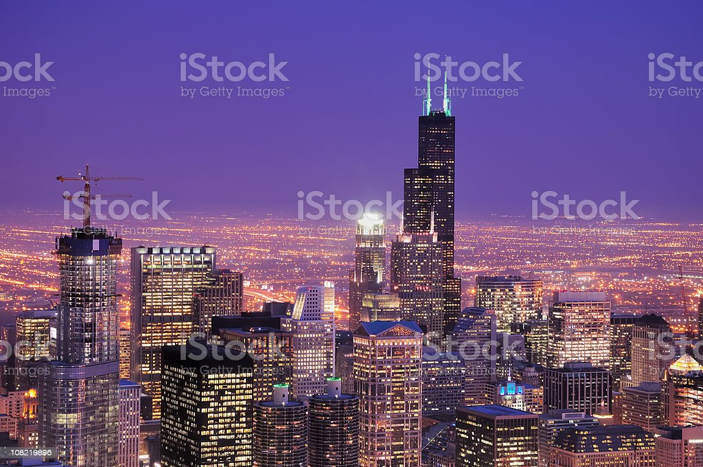 Downtown Chicago Skyline at Dusk royalty-free stock photo