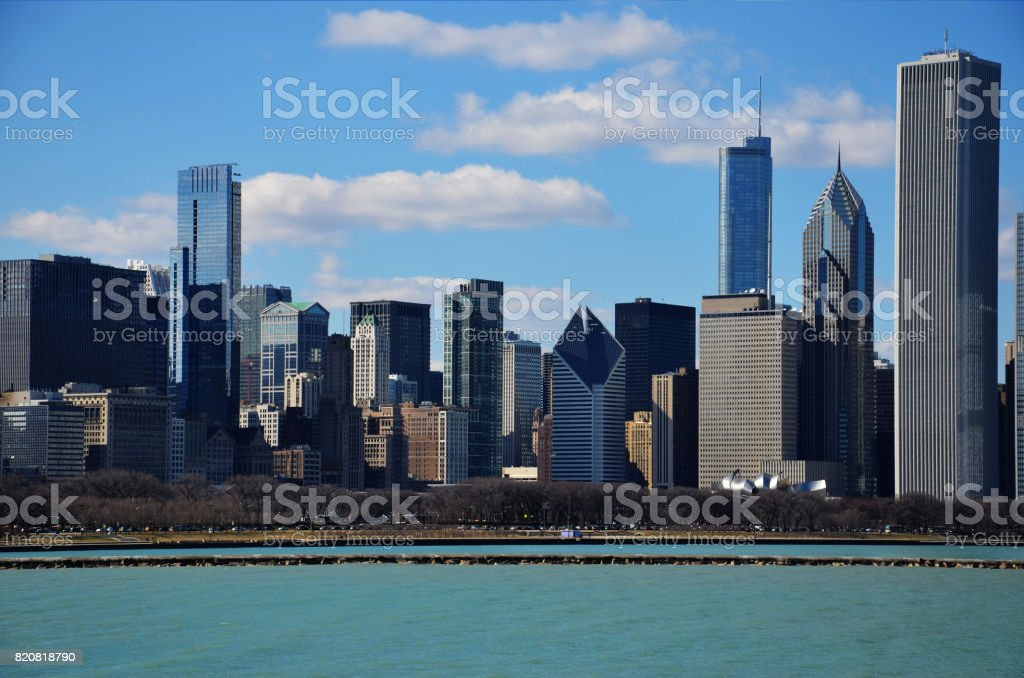 Downtown Chicago skyline view and the Lake Michigan shore stock photo