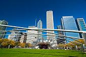 Downtown Chicago skyline with Jay Pritker Pavilion at Millenium Park