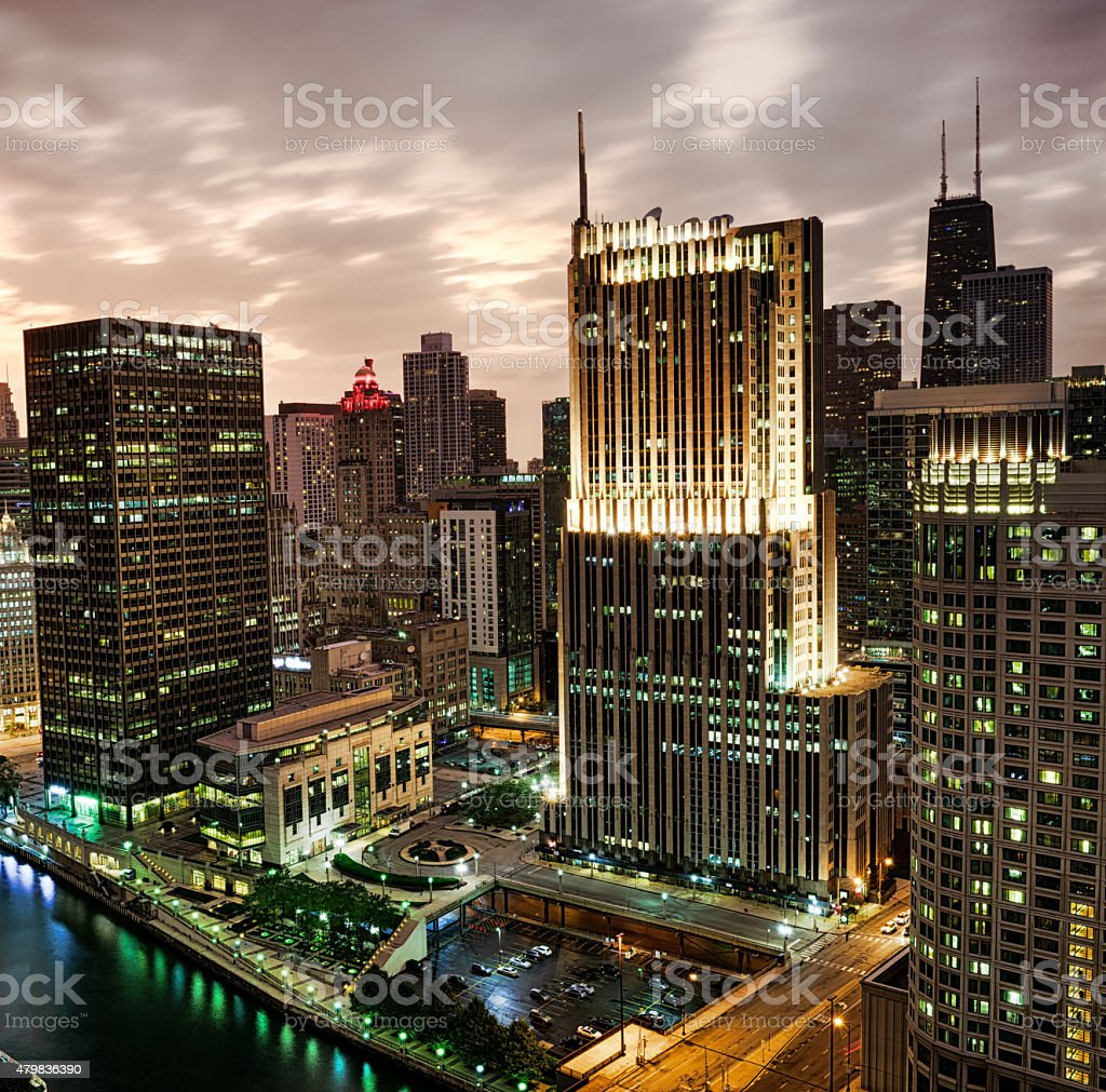 Downtown Chicago  skyscrapers at dusk, from high up stock photo