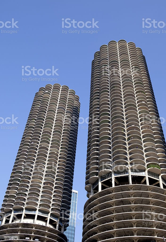 Downtown Chicago Skyscrapers Marina Towers stock photo