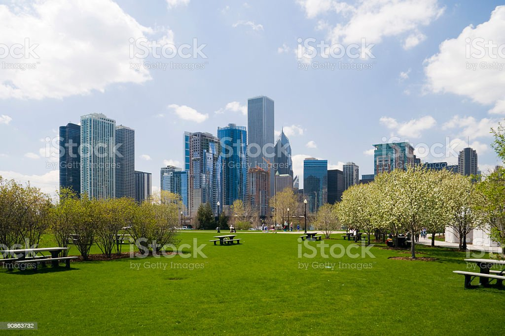 Downtown Chicago with park and cityscape royalty-free stock photo
