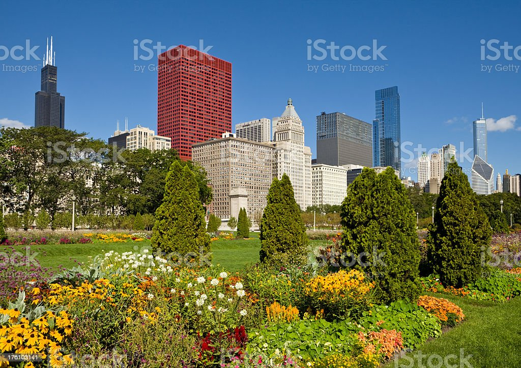 Downtown Chicago with Sears Tower and Grant Park stock photo
