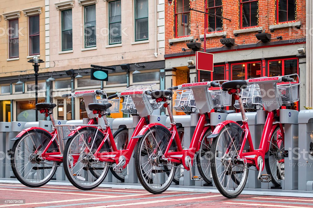 Downtown Cincinnati Ohio Bike Share Station with Bicycles stock photo
