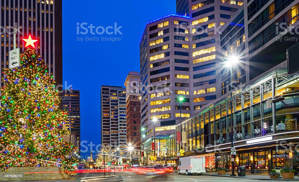 Downtown Cincinnati Ohio USA Christmas Tree stock photo