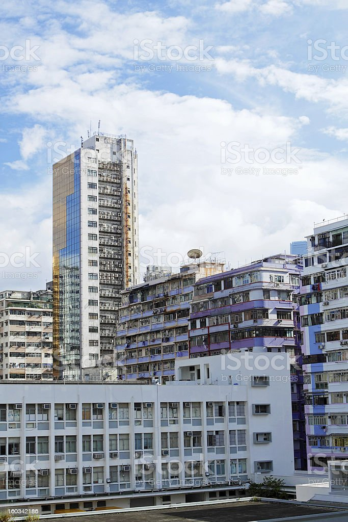 downtown city and old building royalty-free stock photo