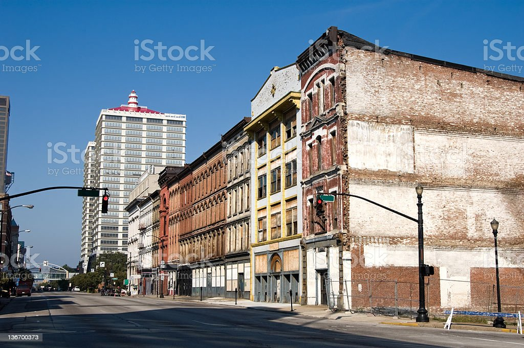 Downtown City Buildings, Old and Blighted Urban Area royalty-free stock photo
