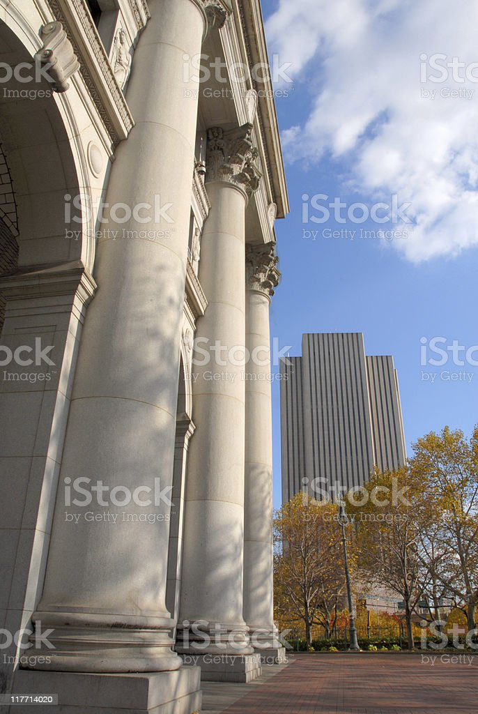 Downtown City Columns royalty-free stock photo