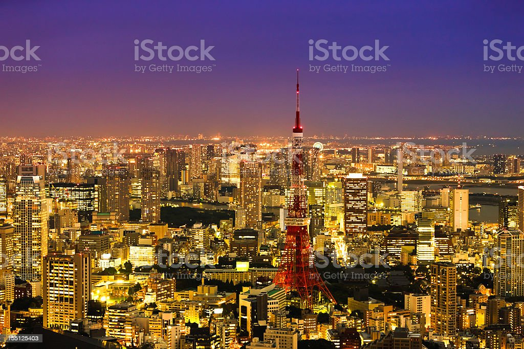 Downtown City View at Twilight Tokyo Tower Japan royalty-free stock photo
