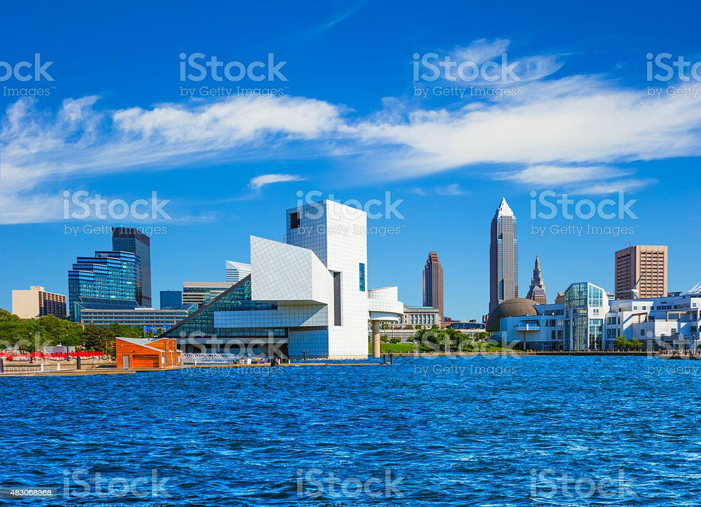 Downtown Cleveland skyline,lake Erie,OH (P) stock photo