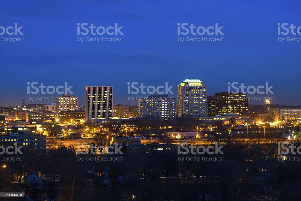 Downtown Colorado Springs at twilight stock photo