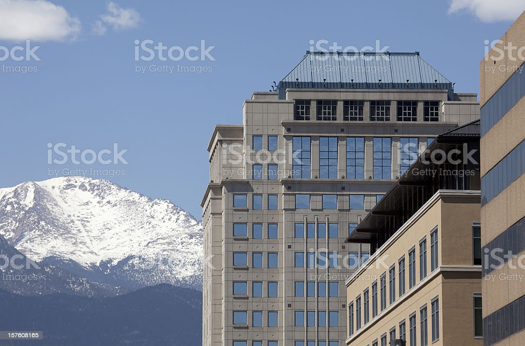 Downtown Colorado Springs Skyscrapers and Pikes Peak stock photo