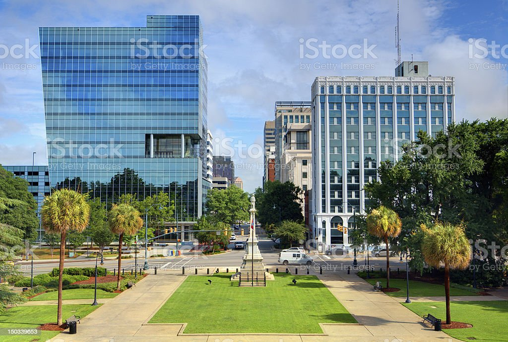 Downtown Columbia in sunny day, view from a park stock photo