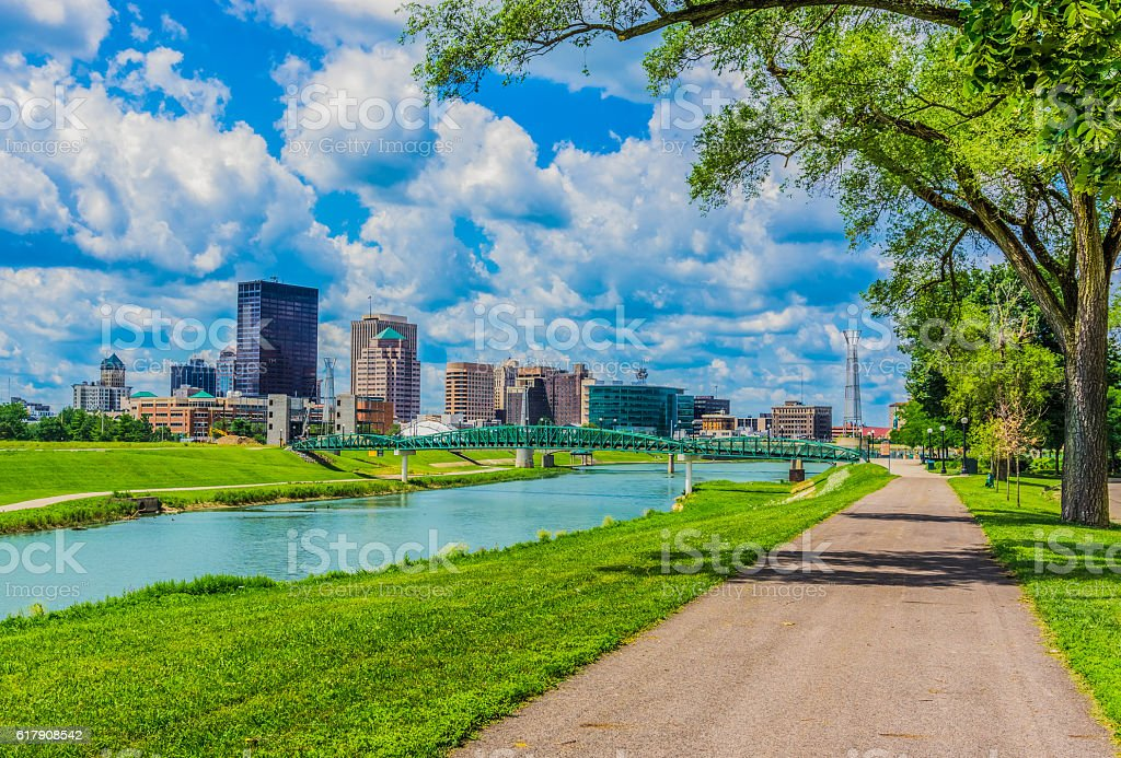 Downtown Dayton, Ohio and the Great Miami River (P) stock photo