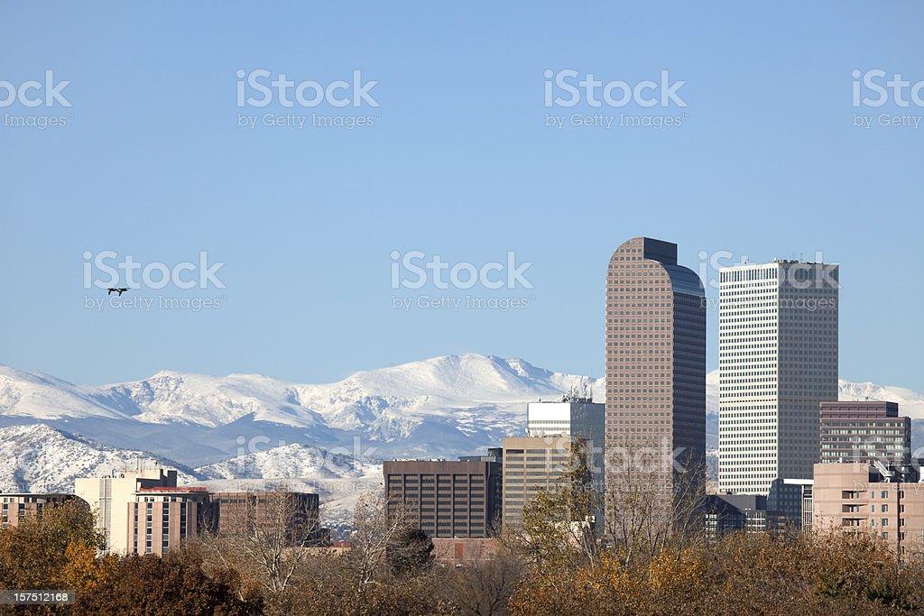 Downtown Denver Skyline and Mount Evans, Colorado stock photo