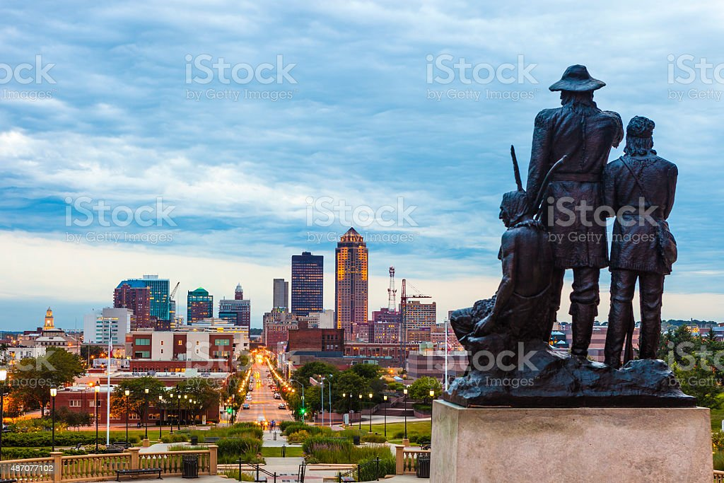 Downtown Des Moines, Iowa stock photo